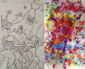 Joe's work from Marvel Age Hulk on the left. Odin's original finger and foot and probably butt painting on the right.