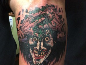 """""""Big Kev's"""" latest ink, taken straight from the pages of The Killing Joke. Listen to the full episode to hear what Kevin wants to do to complete the left arm sleeve."""