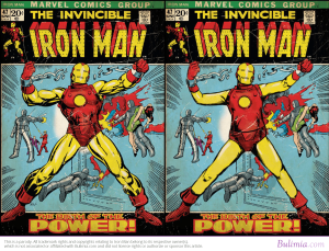 Iron Man reverse photoshopped (that's a thing) to better resemble the average American. But would it matter in a metal suit? I submit that it would not.