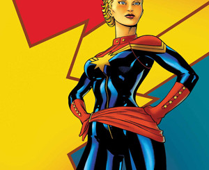 Carol Danvers as Captain Marvel on the cover of Captain Marvel #1 (August 2012). Art by Ed McGuinness.