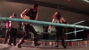 Brandon Barbwire needed the aid of the Championship Belt to defend against Jake Dirden. (Courtesy YouTube)