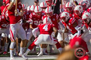 """Rallying the Troops,"" the Huskers prepare to take the field last Saturday against Purdue. Credit: David McGee - Corn Nation"